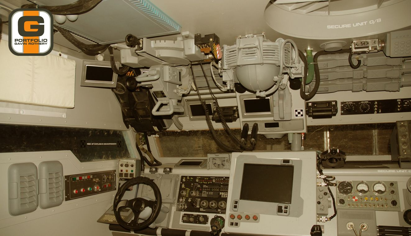 Moon rover cockpit production design. Moon (2009)