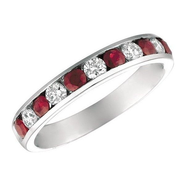 Morris & David  and Diamond 14K White Gold Ring, 0.37 TCW ($1,200) ❤ liked on Polyvore featuring jewelry, rings, ruby, white gold jewelry, white gold rings, band jewelry, 14 karat gold ring and band rings