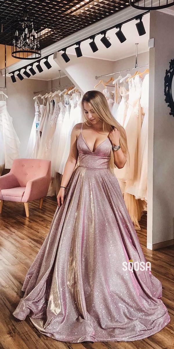 A-Line V-neck Spaghetti Straps Sparkle Prom Dress with