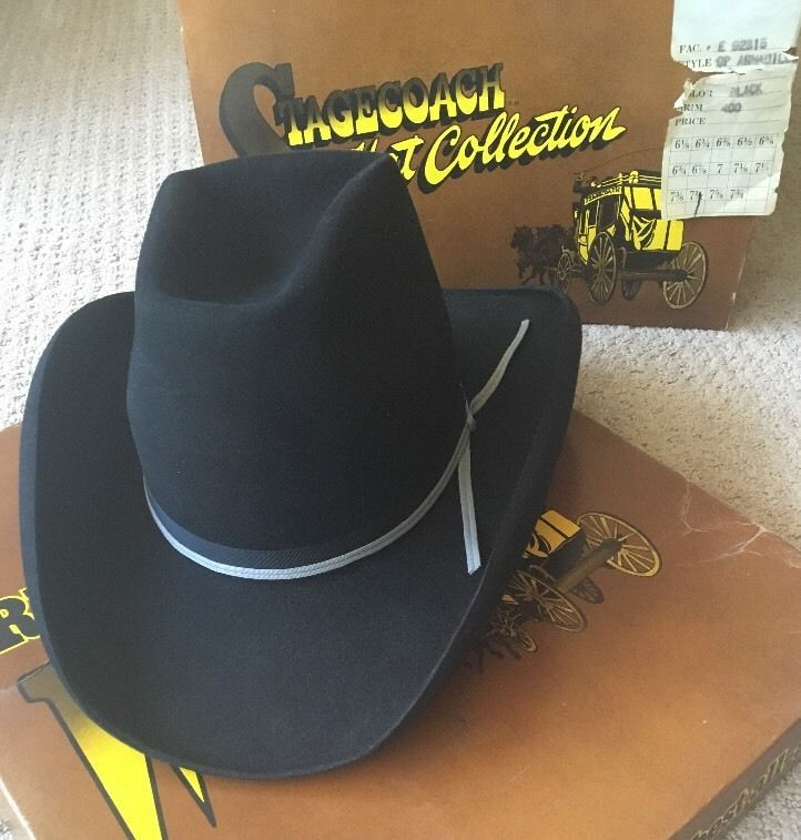 4d2a87f06 Vintage Resistol Armadillo 007 Black Cowboy Hat Sz 7 1 2 with Box ...