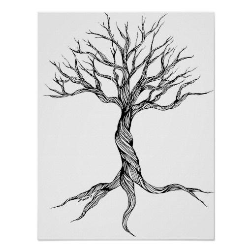Twisted Old Tree art print poster -   24 old tree tattoo ideas