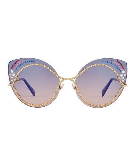 7bd1a48a5ef Metal Twist Cat-Eye Rhinestone Sunglasses