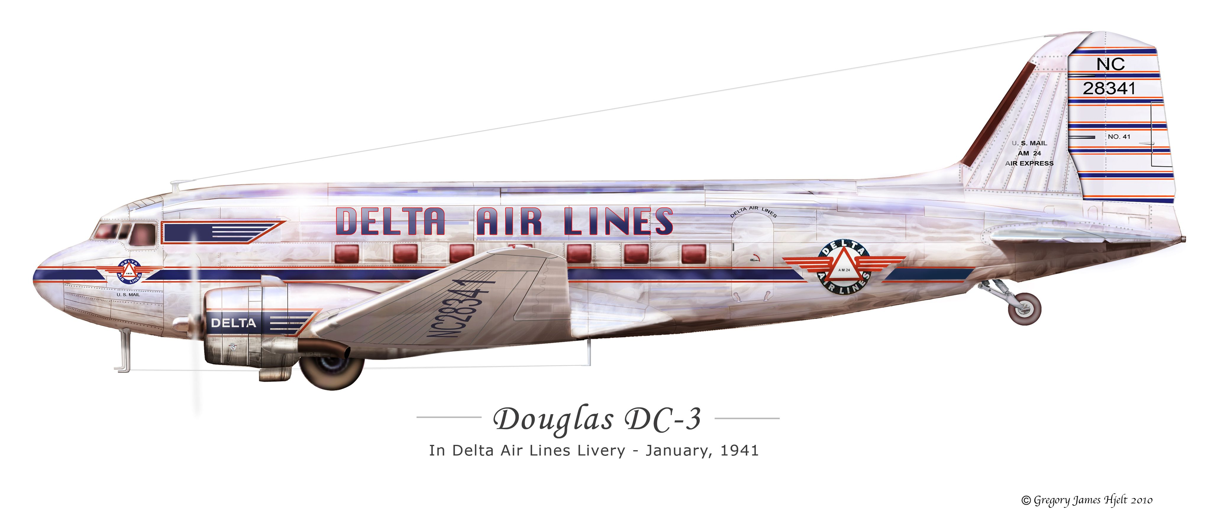 DC-3 Profile | Aviation Art - Vintage Airline | Aircraft, Airplane