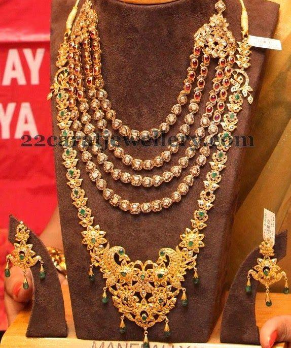 Bridal Diamond Necklace And Haram Set: Polki Ruby Set And Peacock Haram