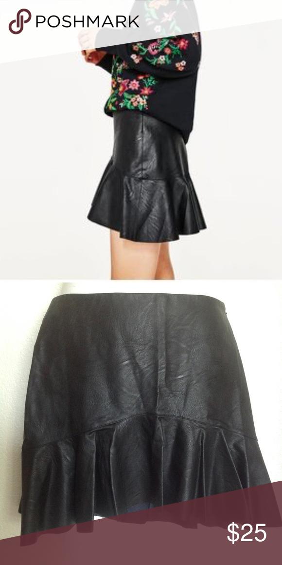 fa4989df8 Zara black faux leather asymmetric hem mini skirt NWT Zara Black Faux  Leather(vegan leather