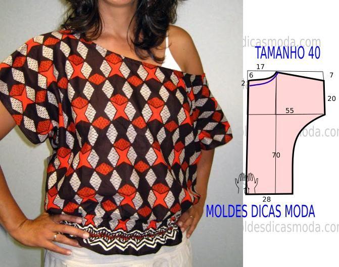 Analise de forma detalhada o desenho do molde deblusa estampada. Esta blusa é simples e bela, veste de forma descontraída e elegante.