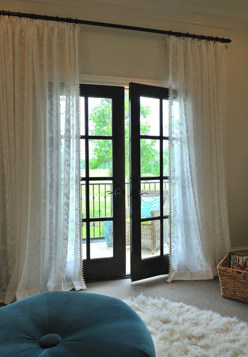 How Do You Hang That Long Rod W Out Middle Support Houzz Door Curtains Designs French Doors Interior French Door Curtains