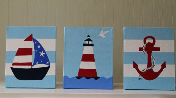 Photo of Items similar to Nautical Nursery Decor Wall Decor Acrylic Painting Wall Art Nautical Decor Sailboat Lighthouse Anchor on Etsy
