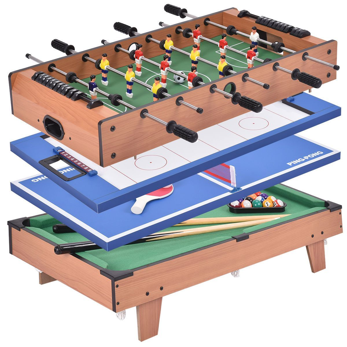 4 In 1 Swivel Air Hockey Table Tennis Billiard Pool And