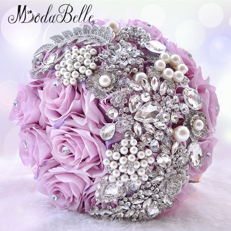 Elegant Customized Bling Pearl And Crystal Wedding Bouquets Bridal