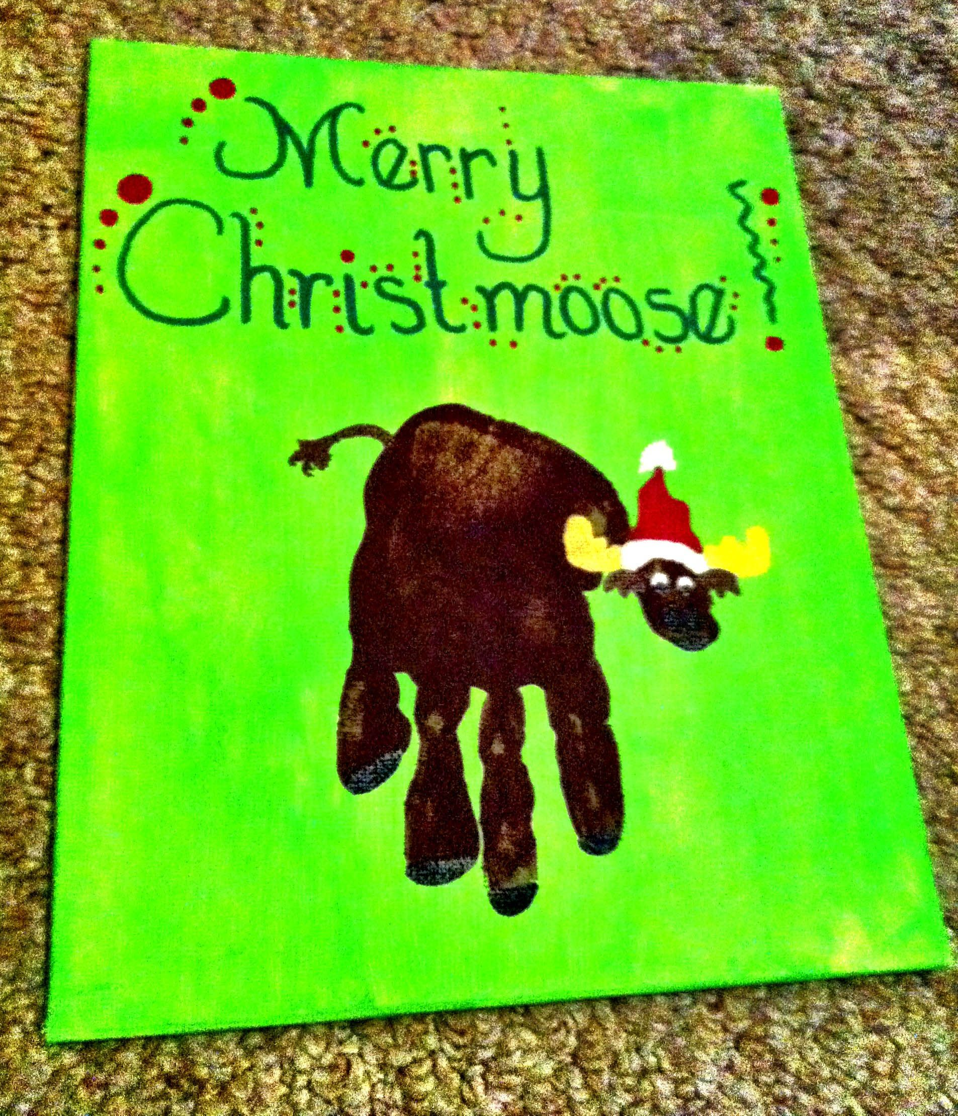 """Just a cute idea for a Christmas painting - a """"hand"""" made moose print"""