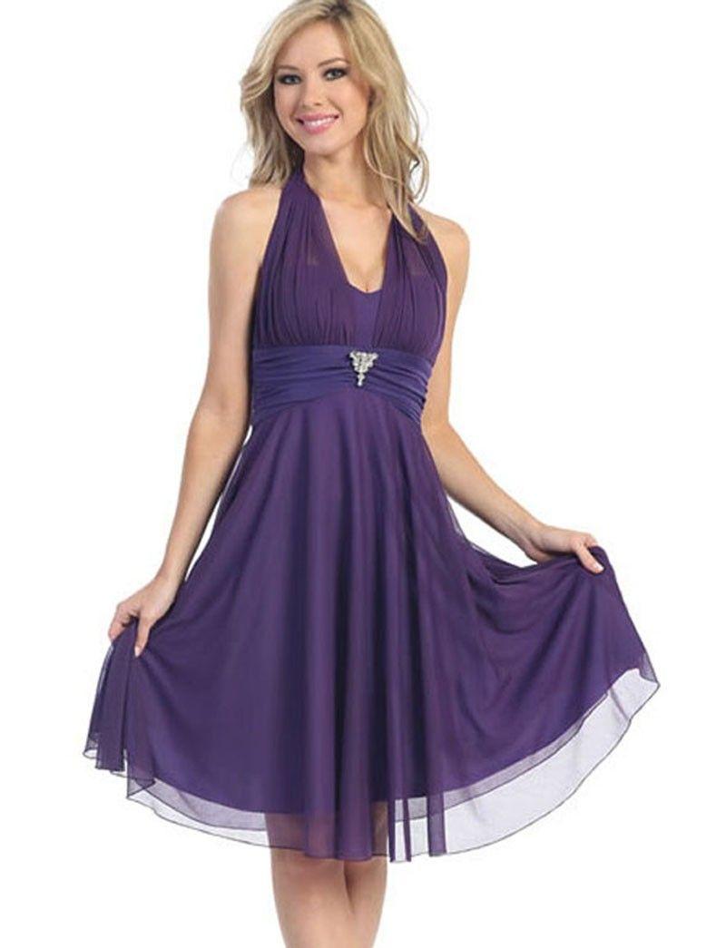 V-neck Purple Chiffon Elegant #Cheap #Homecoming #Dresses Under 100 ...