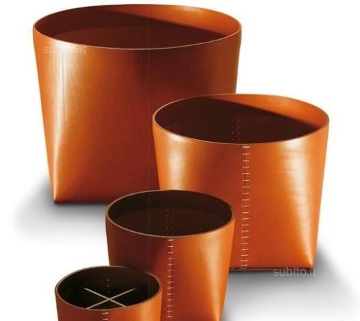 2 cestini porta oggetti teso grande medio cuoio for Vendita oggetti design