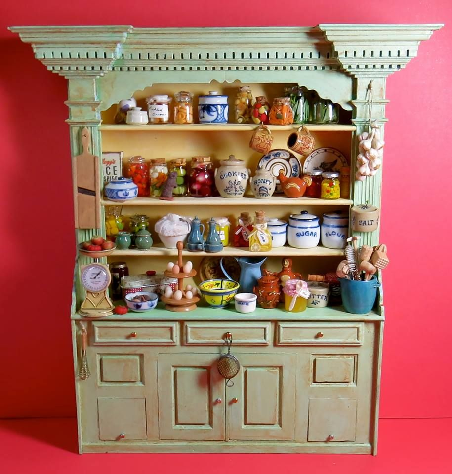 1:12 Miniature Kitchen Buffet Spice Cabinet-White//dolls house
