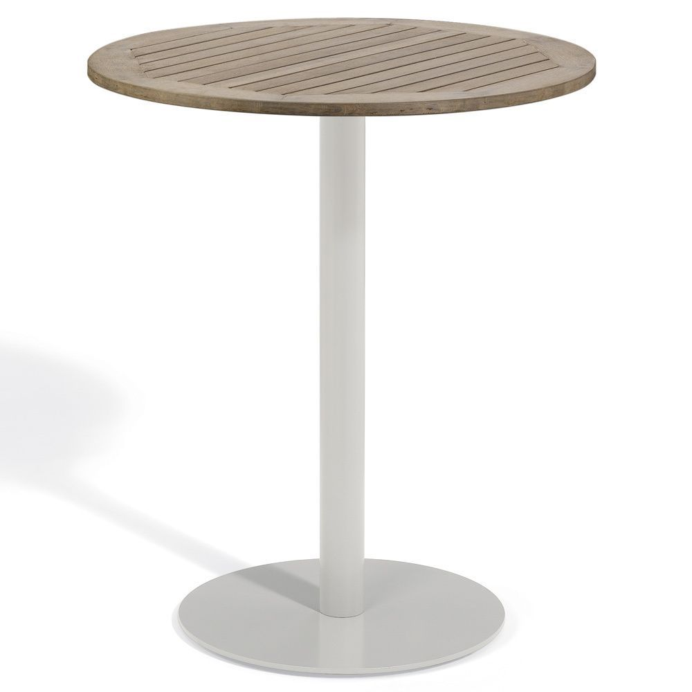 Oxford Garden Travira 36 Inch Round Bar Table (Aluminum, Vintage), Brown, Patio  Furniture