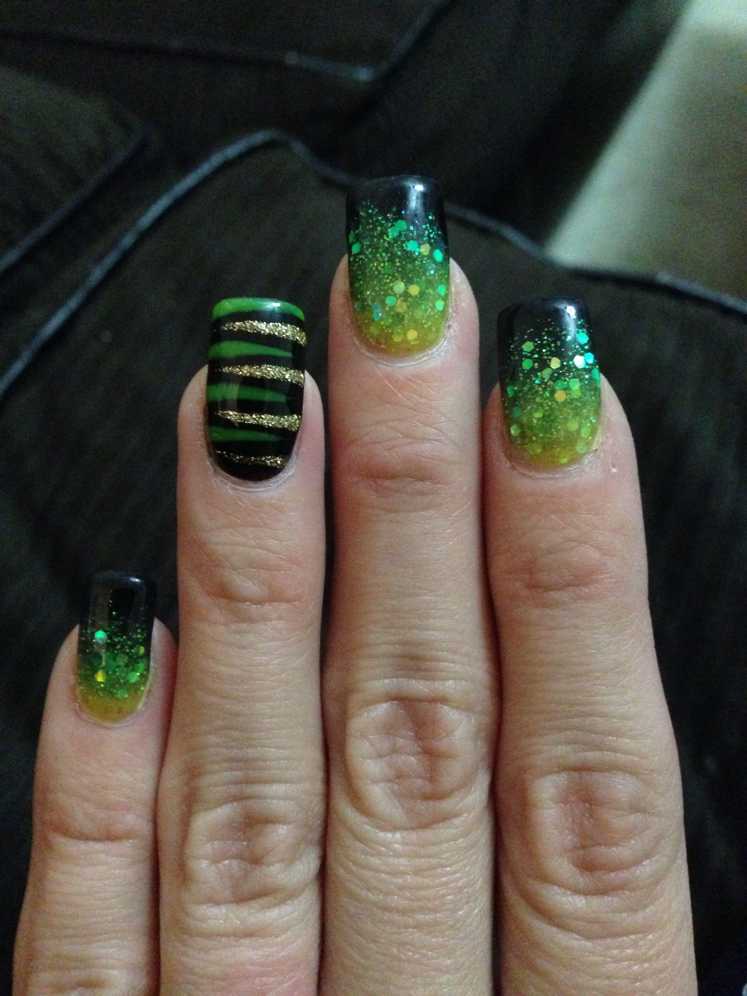 Nail Design Yellow Green Black Ombre Nail Designs Black Nail Designs Cool Nail Designs