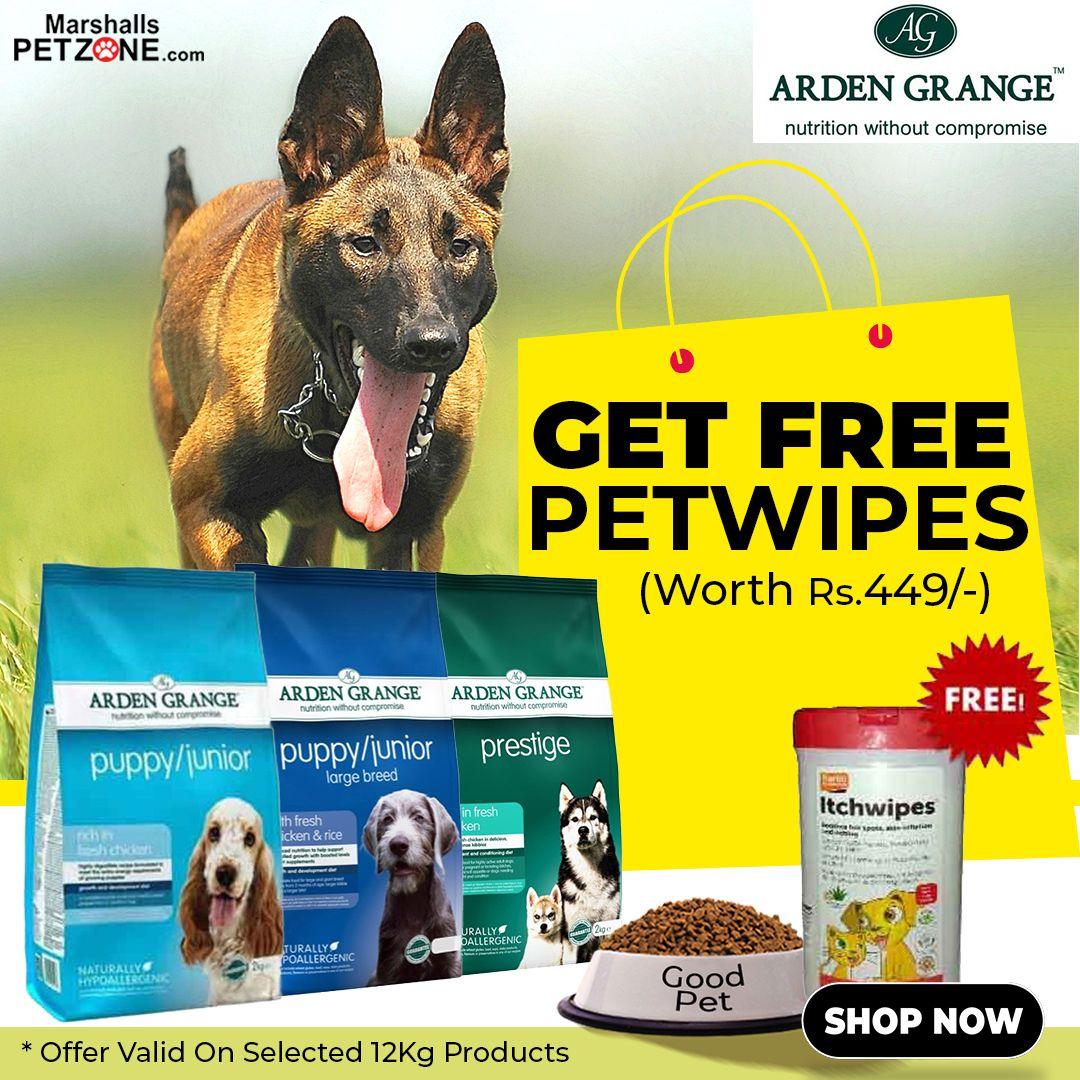Now Get Free Pet Wipes On Selected 12 Kg Arden Grange Dog Food