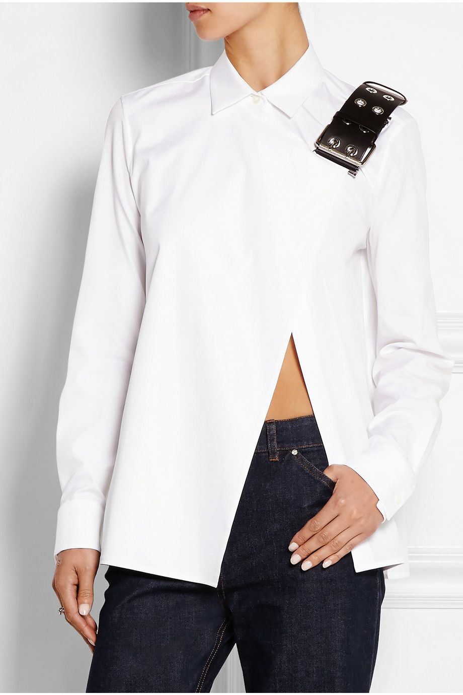 Balenciaga | Leather-trimmed cotton-poplin shirt | NET-A-PORTER.COM