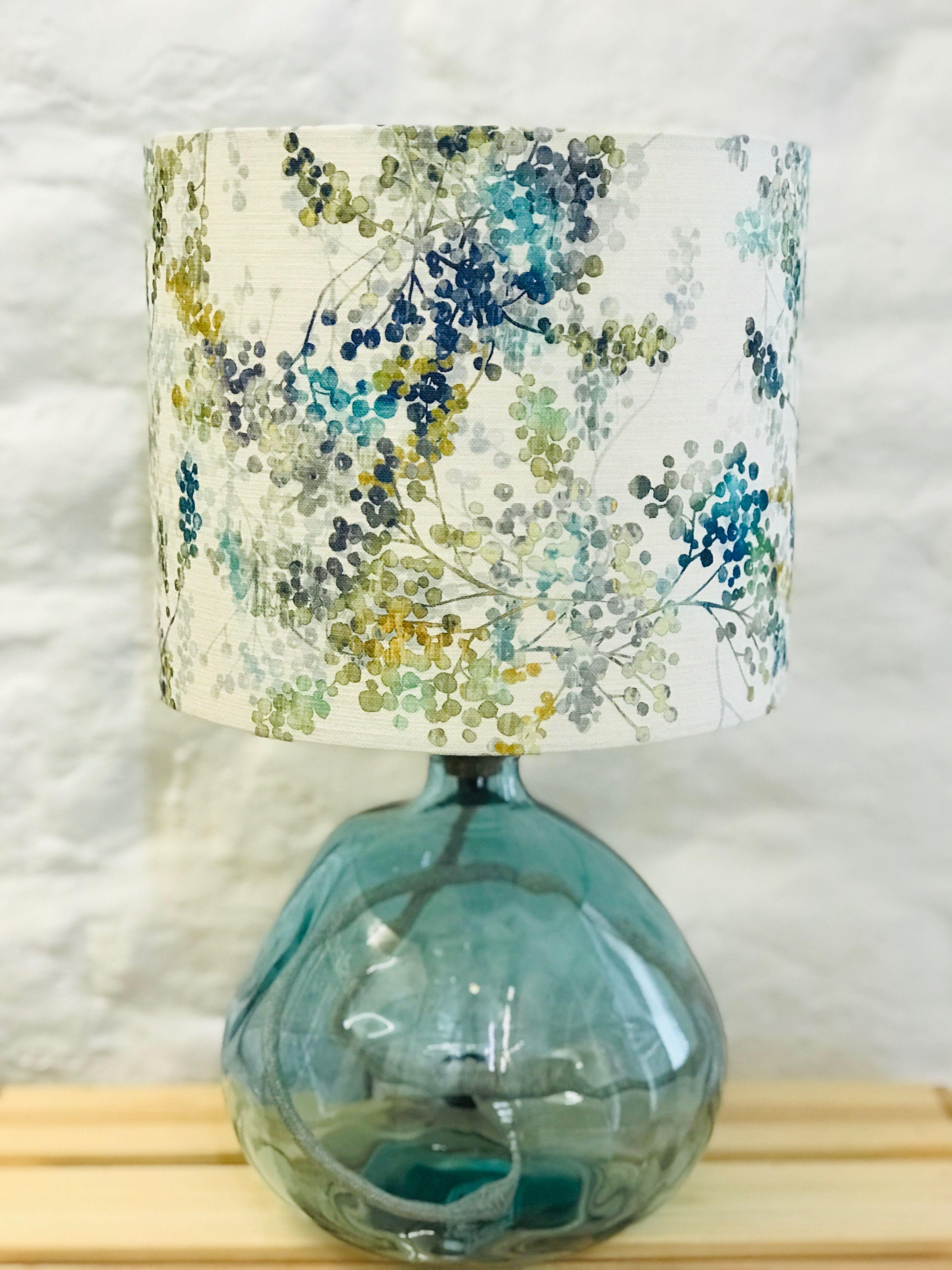 Green and Teal Botanical Print Lamp Shade