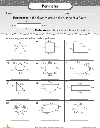 Presenting Perimeter Worksheet Education Com Classroom Math Activities Perimeter Worksheets Area And Perimeter