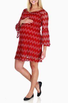 Burgundy White Lace Chevron Maternity Dress  edbec6e3b