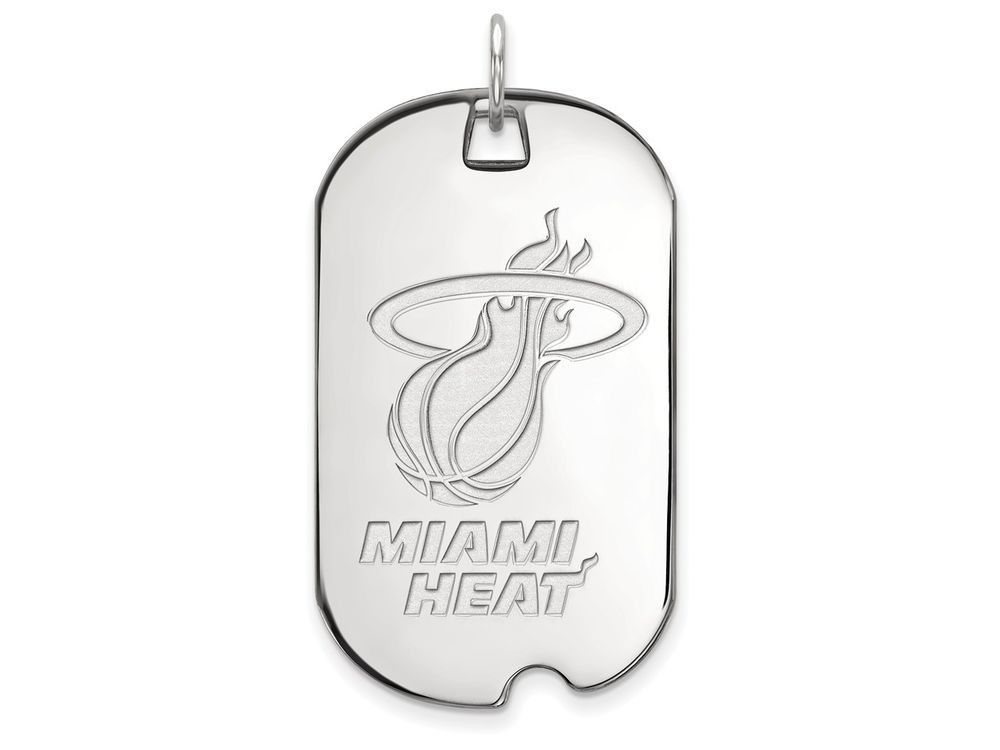 LogoArt Sterling Silver Miami Heat Large Dog Tag Pendant Necklace - Chain Included