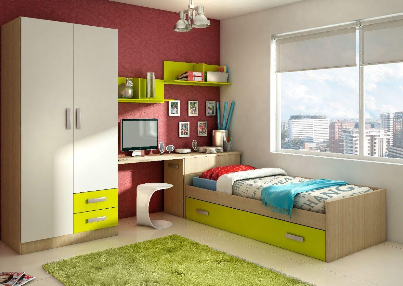 Dormitorio juvenil formado por armario de dos puertas arc n cama nido mesa de estudio y dos - Dormitorios juveniles en granada ...