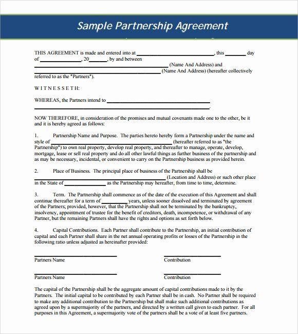 40 Business Partnership Agreement Template In 2020 Contract