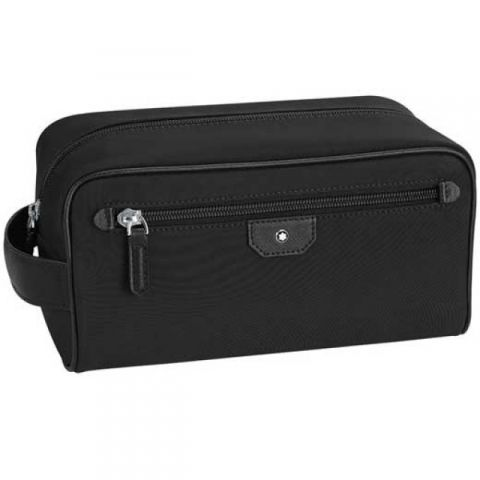 Montblanc Sartorial black nylon and leather wash bag.   bags ... 7b6ae6aa21