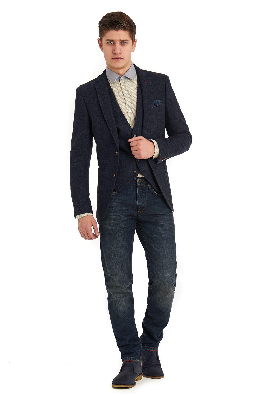 Moss London Slim fit indigo donegal jacket