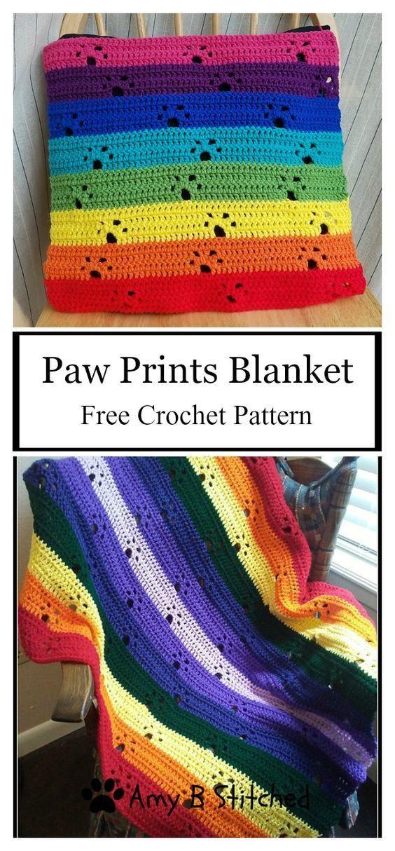 Paw Prints Afghan Blanket Free Crochet Pattern #afghanpatterns