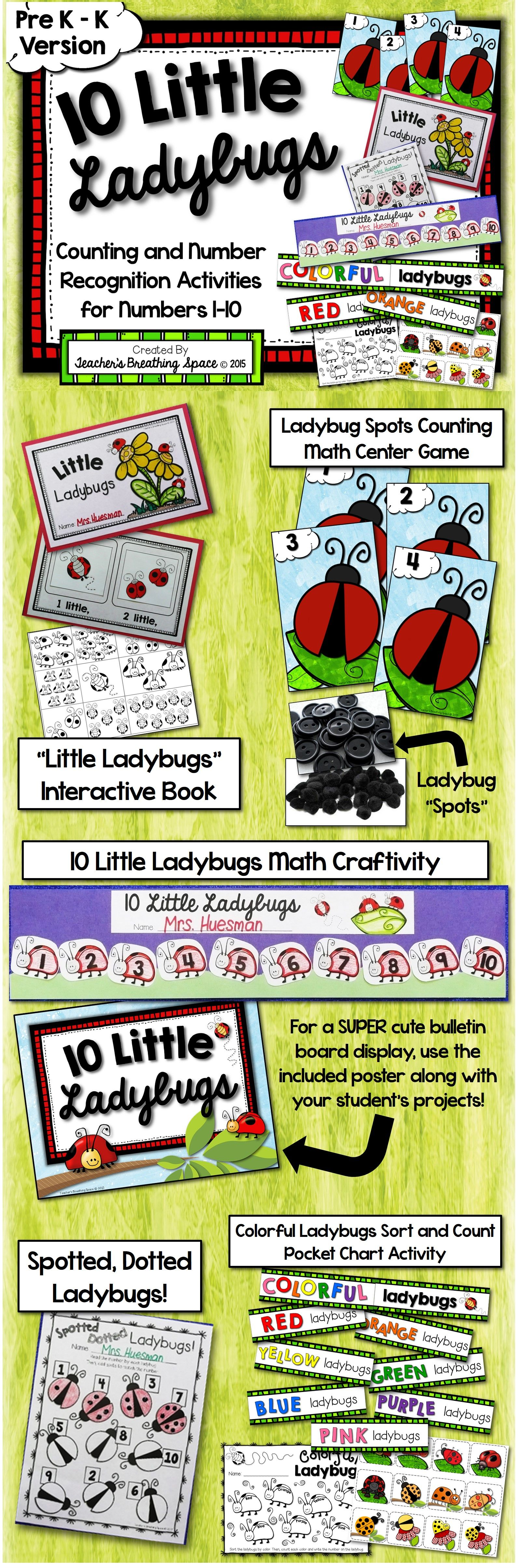 Ladybug Numbers 1 10 Spring Counting And Number