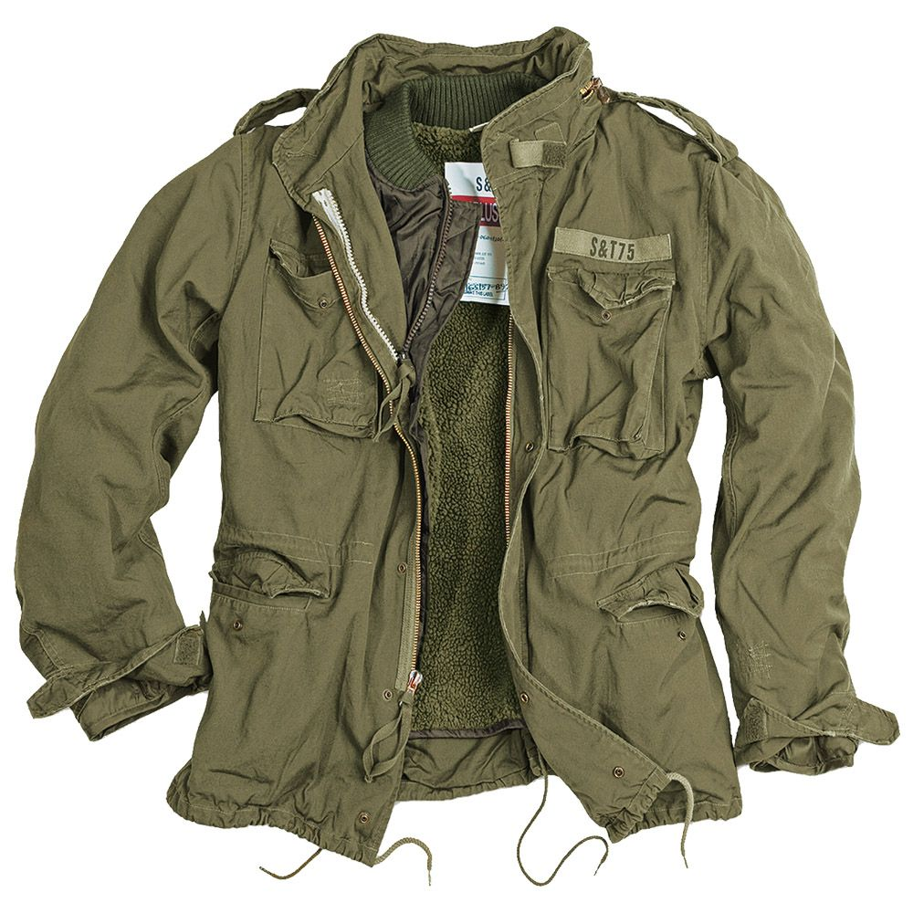 c295f0337c507 SURPLUS VINTAGE STYLE M65 REGIMENT MILITARY MENS WARM JACKET LINER OLIVE  S-5XL