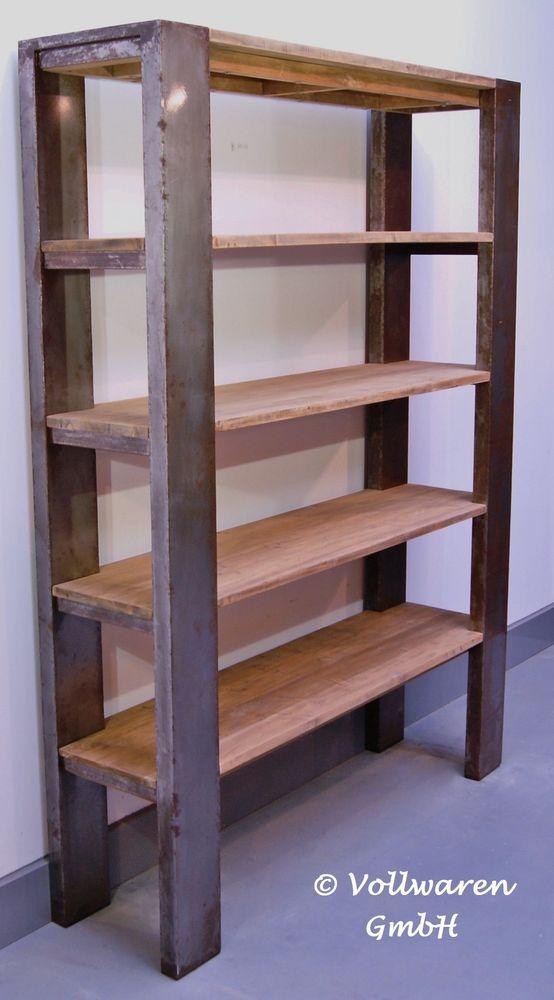 Vintage Teak Stahl Regal Loft Industrie Design Bucherregal In 2 Grossen Decor Bookshelves Shelves