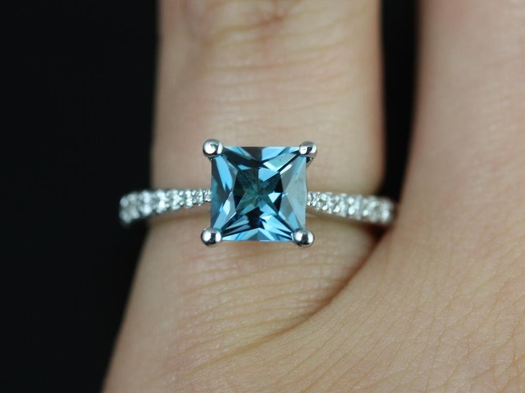 Blue topaz wedding rings princess cut