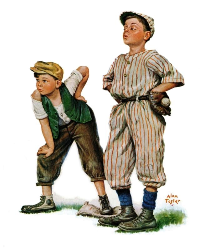 Marmont Hill Mh Kidcur 01 C 36 36 Inch X 30 Inch Team Players Giclee Art Print Home Decor Wall Decor C Norman Rockwell Art Canvas Art Prints Giclee Art Print