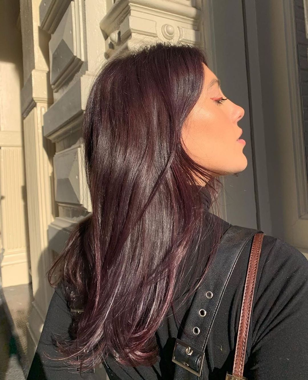 """oVertone on Instagram: """"@itsnoraleisk wears Purple for Brown Hair. Our 'For Brown Hair' shades show up best on light brown strands or create a subtle, yet…"""" -   16 plum hair Burgundy ideas"""