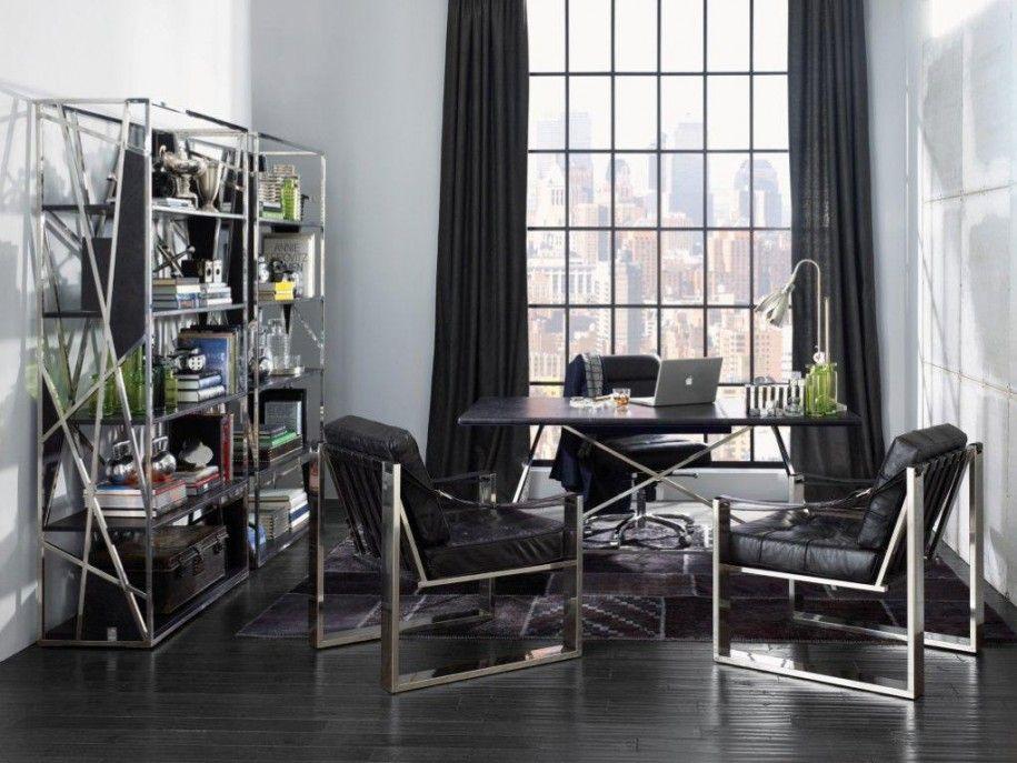 Fresh And Stylish Reading Space Decorating Ideas: Wood Flooring Stylish  Modern Style Black Curtain Office