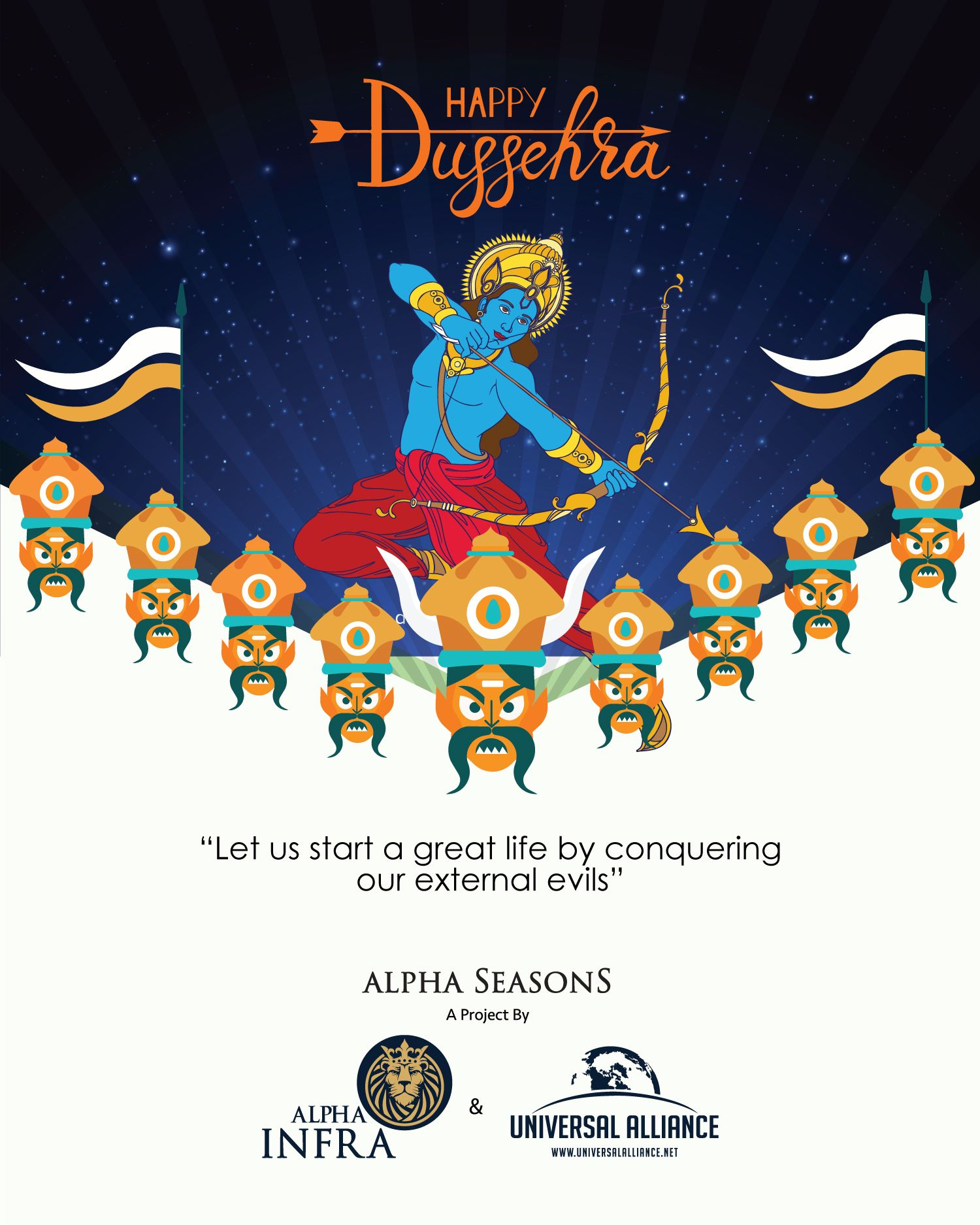 Happy Dussehra Festival Post Designed for Real Estate
