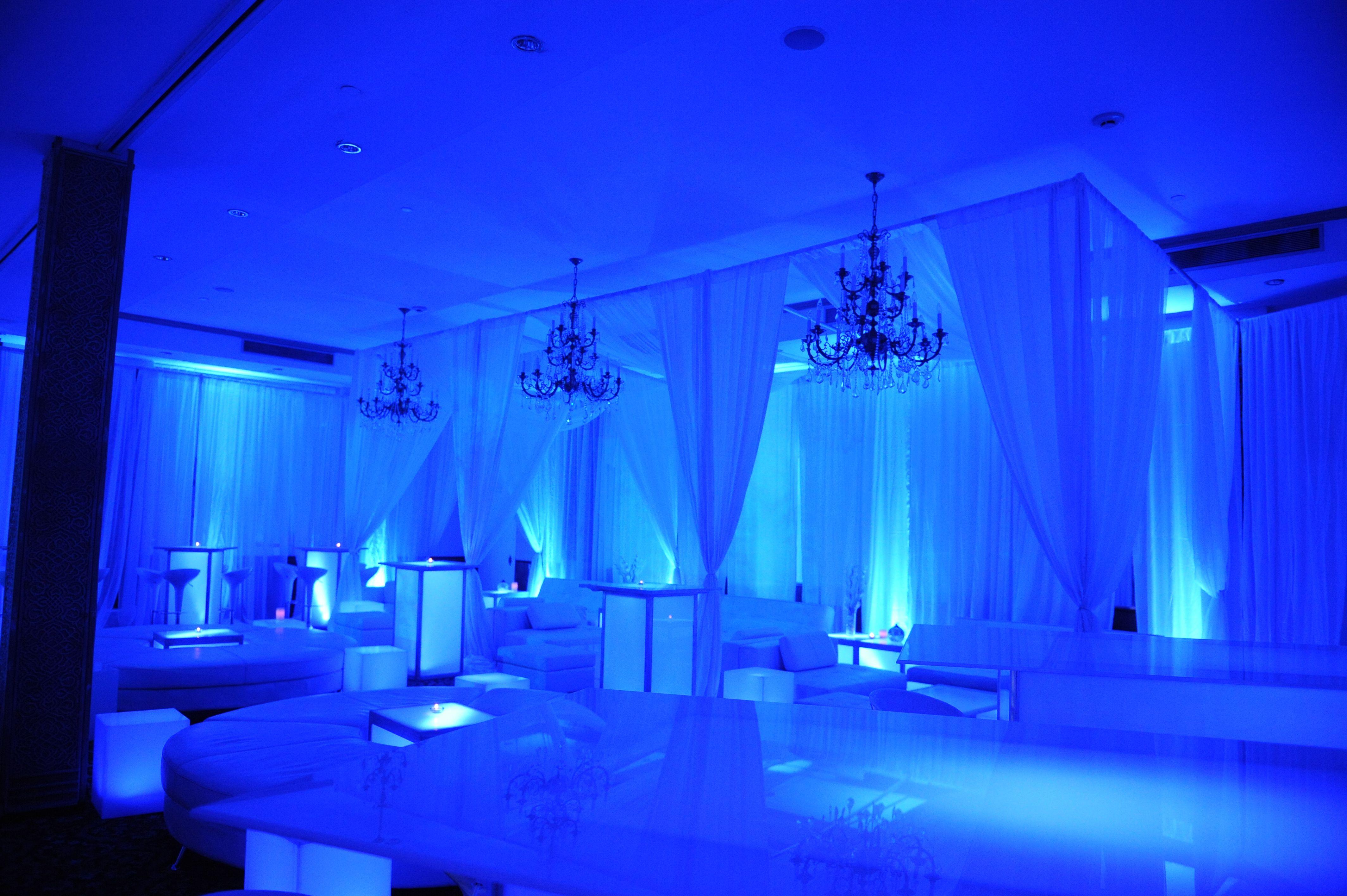 full room cabana lounge set ups with miami white sofas and led