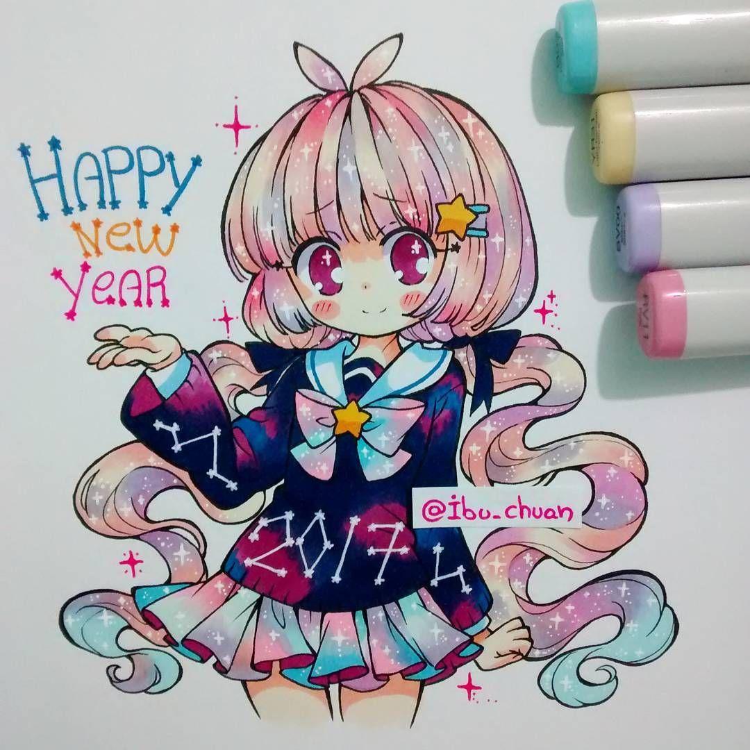 Happy New Year Eveyone Cute Art Anime Chibi Kawaii Art
