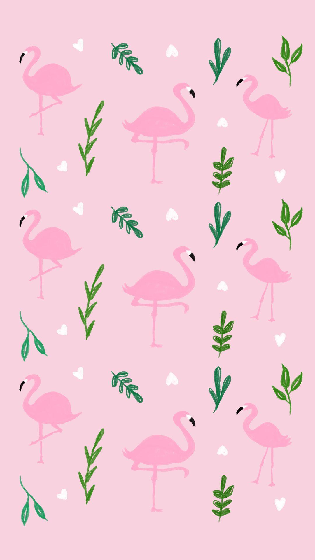 Summer Tropical Flamingo Wallpaper