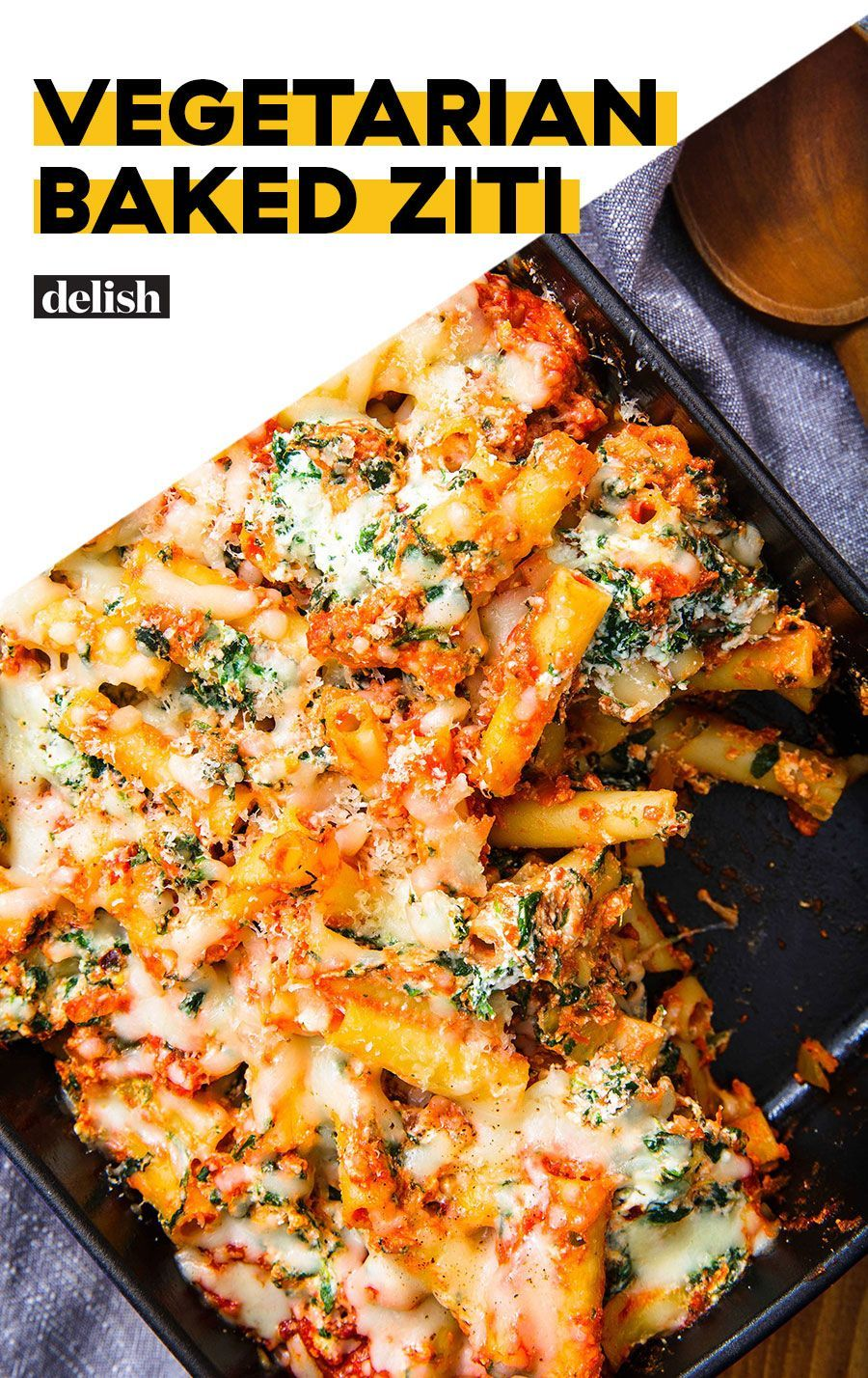 Baked Ziti This vegetarian baked ziti is perfect for a crowd. Get the recipe from This vegetarian baked ziti is perfect for a crowd. Get the recipe from