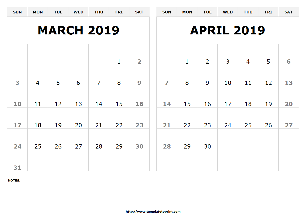 photo relating to Printable 2 Month Calendar named 2 Thirty day period March April 2019 Calendar Absolutely free March 2019 Calendar