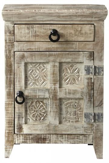Home decorators printblock nightstand has a vintage whitewashed style item 14730 with wide hinges hoop pulls 4 inset carved images charming and