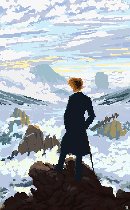 Wanderer Above The Sea Of Fog Pixel Art Digital 454 X 734 Pixel Art Design Pixel Art Pixel Art Background