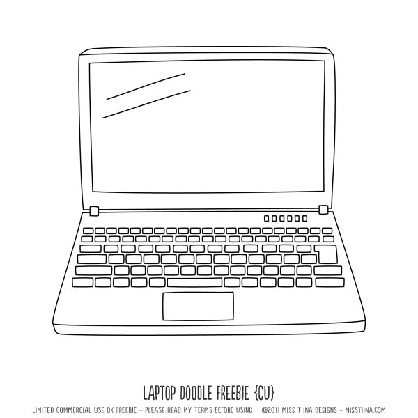 Laptop Doodle Cu Freebie Laptop Drawing Digi Stamps Doodles