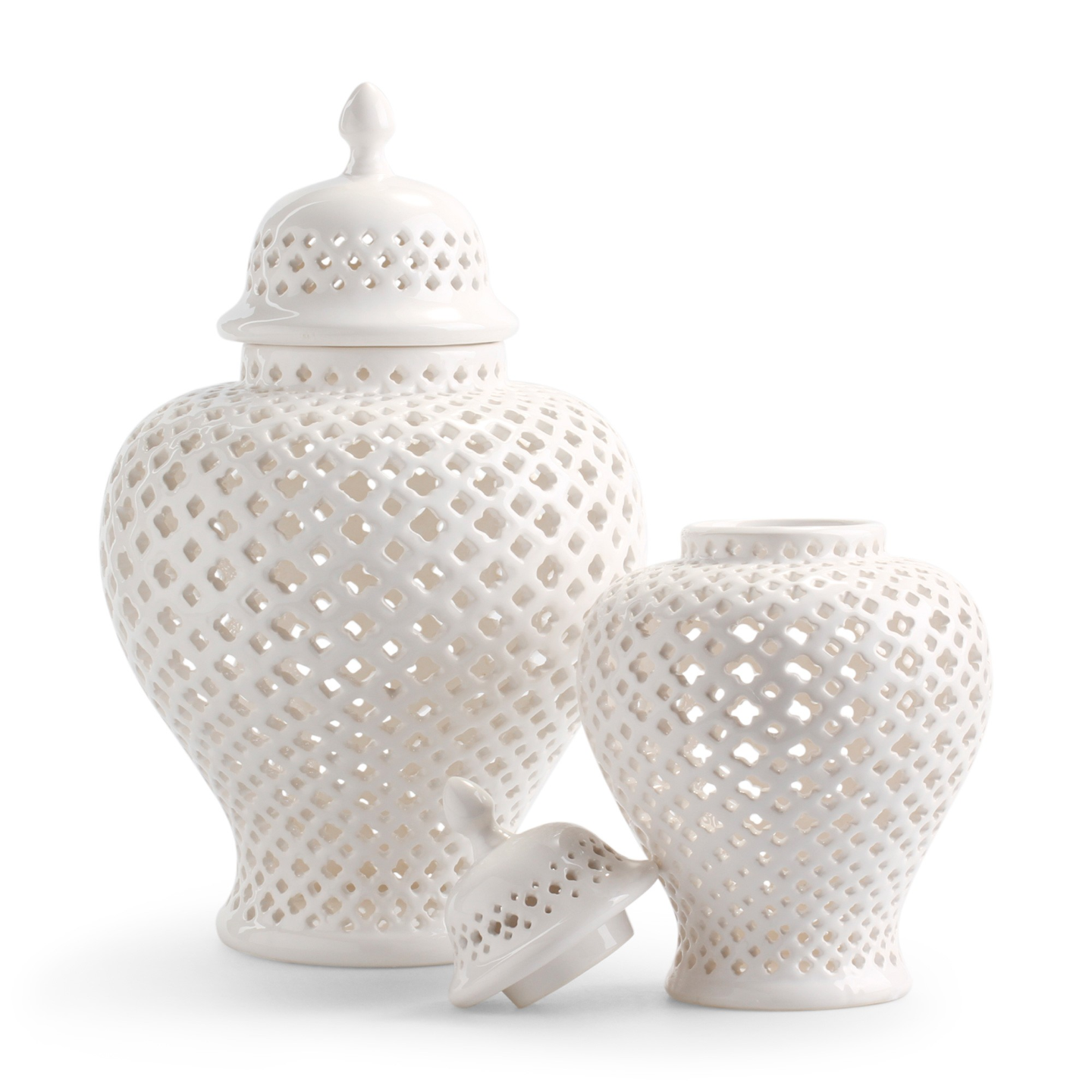 Pierced White Ginger Jars