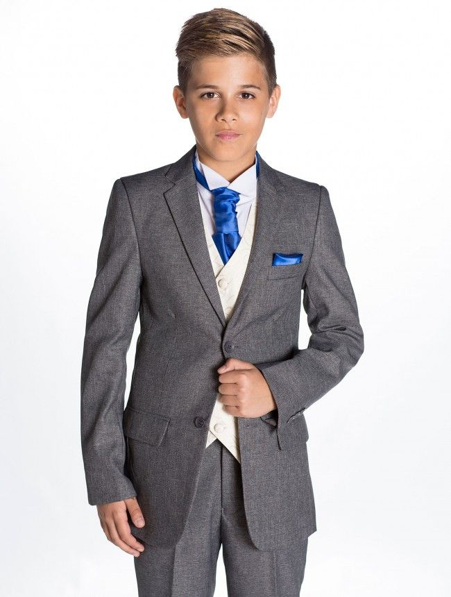 Boys grey & ivory suit - with a choice of 12 cravat and hanky ...