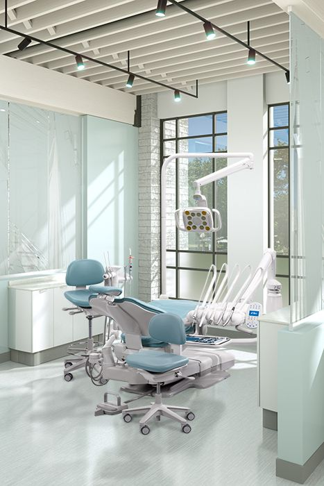 A Dec 500 Dental Chair With Cyan Sewn Upholstery. Design Your Dream  Operatory And